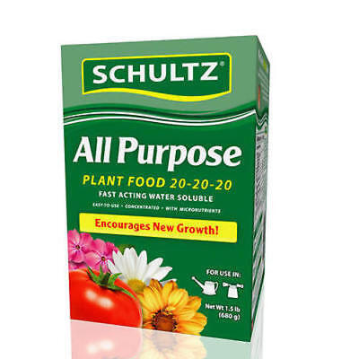 Schultz All Purpose Plant Food 20-20-20 Fast Acting Water Soluble 1-1/2 - Water Soluble All Purpose Plant