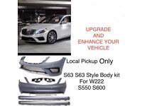 S63 AMG style full bodykit for mercedes s class W222 2014 onwards Front Rear Bumper Side Skirts