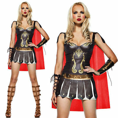 Womens Xena Gladiator Warrior Princess Roman Spartan 300 Fancy Dress Costume - Spartan Princess Costume