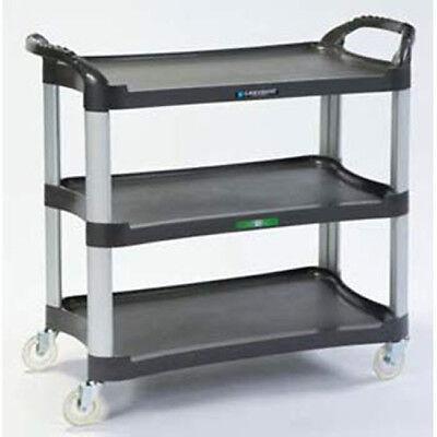 Three Shelf Plastic Utility Cart - 500 Lb. Capacity Charcoal Gray