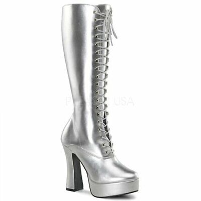 Silver Costume Boots (Platform Boots Silver Laced Front Ladies 5