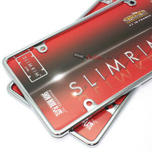 2 Plain Slim Thin Chrome Metal License Plate Tag Frames for Auto-Car-Truck