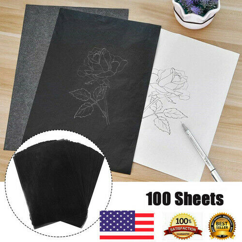 100pcs A4 Carbon Paper Transfer Copy Black A4 Sheets Graphite Tracing US