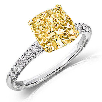 New 1.25 Ct. Fancy Yellow Canary Cushion Cut Solitaire Diamond Ring SI1 GIA 18K