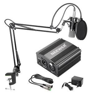 Neewer-Kit-Microfono-Condensatore-NW-700-amp-Alimentatore-48V-Phantom-Nero-ecc