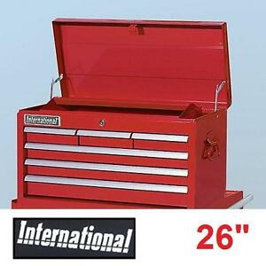 """NEW* INTERNATIONAL 26"""" TOP CHEST RED 6 DRAWERS LOCKABLE TOP TOOL CHEST TOOLBOX TOOLBOXES CHESTS STORAGE BOXES 107895456"""