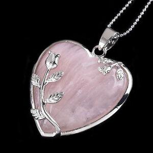 Rose Quartz Heart Necklace Ebay