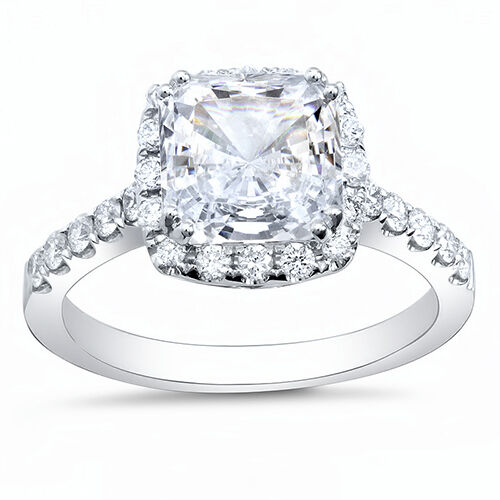 2.50 Ct Radiant Cut Halo Pave Round Diamond Platinum Engagement Ring E,VS2 GIA 2