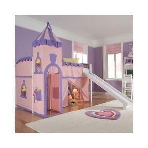 Girls loft bed with slide - Girls Loft Bed Room Set Twin Slide Kids Playhouse Princess Style