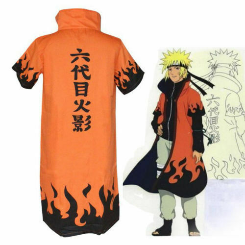Naruto 6th Leaf Village Hokage Uzumaki Costume Cosplay Robe Cloak Cape Small (S)