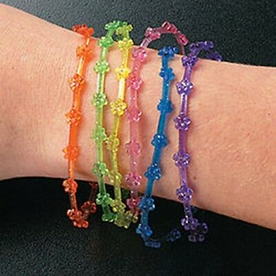 144 Vinyl Glitter Flower Jelly Bracelets Wholesale!