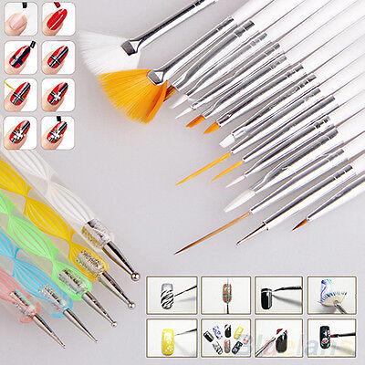 20Pcs Beauty Nail Art Design Set Dotting Painting Drawing Polish Brush Pen Tools