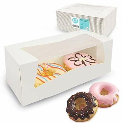 25 Pack 9x4x3.5 White Donut Bakery Box With Window - Auto-popup Cardboard Gif