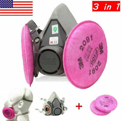 Us 3in1 Half Face Dust Masks Filter Respirator Spray Painting For 3m 6200 2901