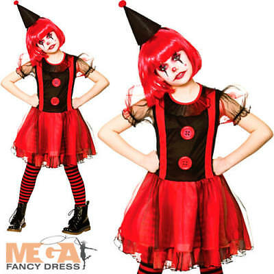 Freaky Clown Girls Fancy Dress Halloween Scary Horror Circus Childs Kids Costume