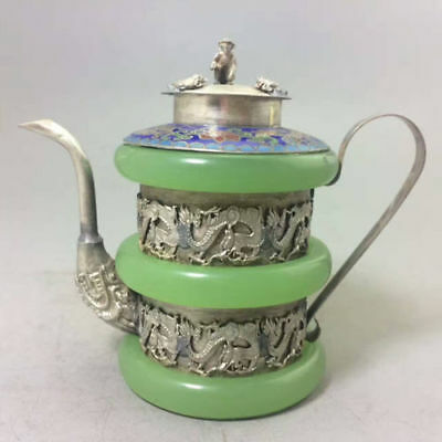 CHINESE TIBET SIVER HANDWORK twelve chinese zodiac signs OLD GREEN JADE TEAPOT
