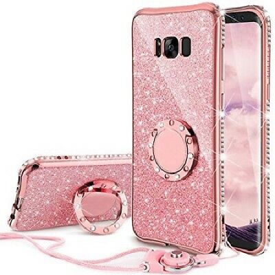 Samsung Galaxy J3/J3v/J36v Bling Cute Phone Case for Girls Ring Kickstand Pink