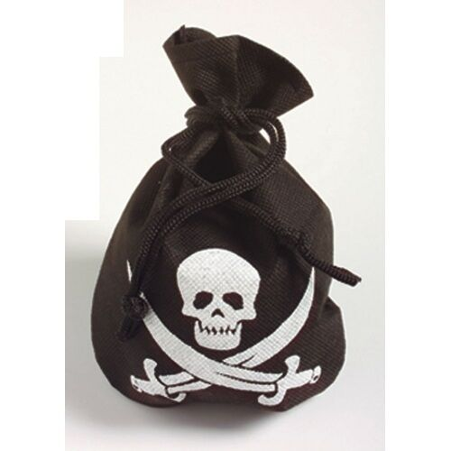MENS WOMENS CHILDRENS BLACK PIRATE POUCH WITH SKULL & CROSSBONES FANCY DRESS