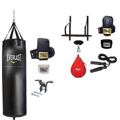 Everlast 70 lb Heavy Punching Bag Set with Bonus 6 Pc Speed Bag Platform Kit NEW