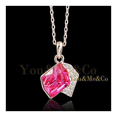 18K Rose Gold EP Brilliant Cut Sapphire Crystal Pendant covid 19 (Brilliant Cut Pink Sapphire Necklace coronavirus)