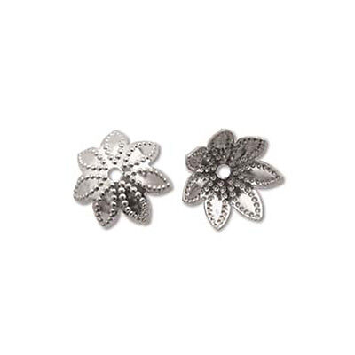Flower 9mm Bead Caps Nickel Plated 41207 (144)  Base Metal Silver Color