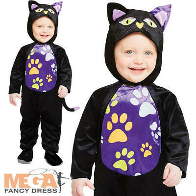 Lil Kitty Cutie Kids Fancy Dress Black Cat Halloween Animal Boys Girls Costume - Black Cat Boy Kostüm