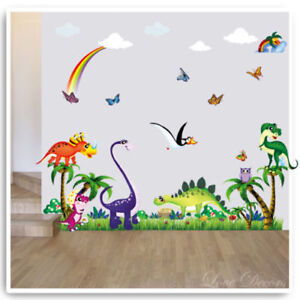 Dinosaur Wall Stickers Decals Animal Owl Jungle T-Rex Nursery Baby Kids Room Art
