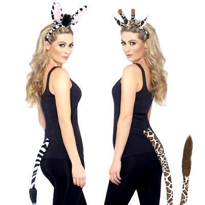 Animal Ears & Tail Kits Adult Fancy Dress Zebra Giraffe Safari Costume - Zebra Kostüm Kit