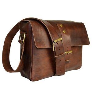 Kleine Aktentasche Schultasche Lehrertasche Umhängetasche Leder-Tasche Vintage