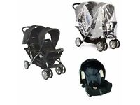 Graco double pushchair + car seat + car seat base