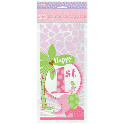 1st BIRTHDAY Pink Safari CELLO FAVOR BAGS (20) ~ Party Supplies Treat Loot Girl