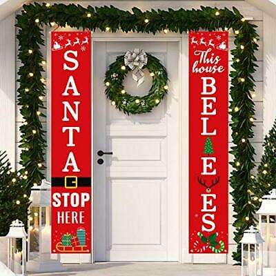 Christmas Decoration Outdoor Indoor Vintage Porch Door Banners Holiday Decor