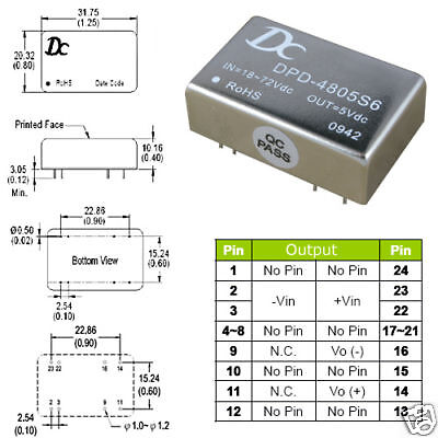 Dc Converter Isolated Power Module In 18v-75v Out 5v 6w
