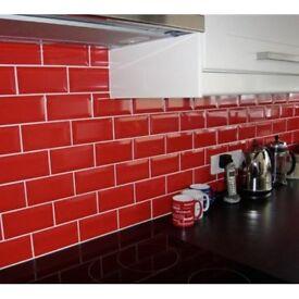 RED MINI METRO 7.5X15cm WALL TILES LOT OF 5M2