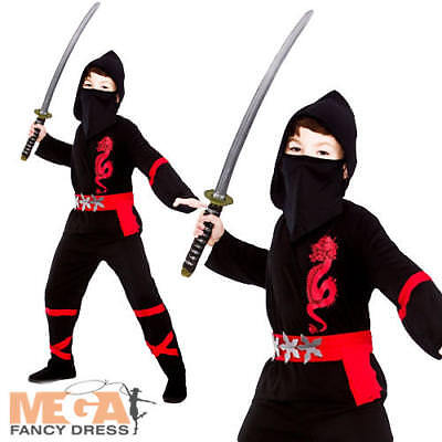 Samurai Kids Kostüme (Samurai Ninja Boys Fancy Dress Japanese Martial Arts Warrior Kids Childs Costume)