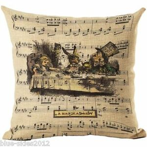 ALICE In WONDERLAND Mad Hatter T Party LINEN-COTTON Canvas CUSHION COVER UK Sale