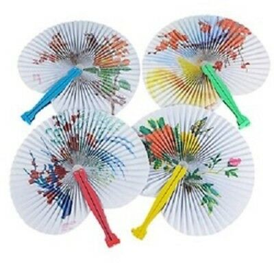 12 FLORAL PRINT FOLDING PAPER FANS WHOLESALE , PARTY / WEDDING FAVORS, FREE SHIP](Wholesale Party)