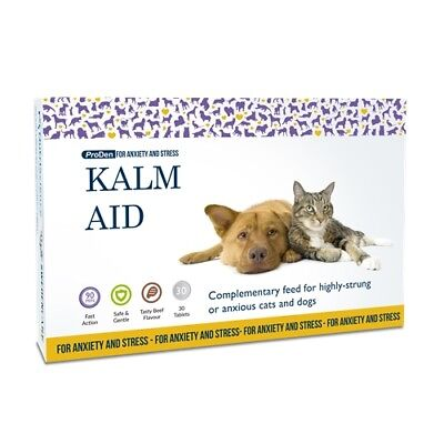 Kalm Aid 30 Tablets - Cat & Dog Anxiety & Stress Relief Fast Calming Action