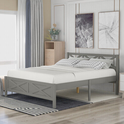 Full Size Wooden Bed Frame Platform with Extra Support Legs, X-shaped Frame Gray