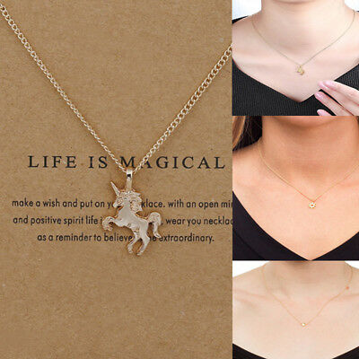 Necklace - Women Unicorn Necklace Pendant Gold Clavicle Chains Choker Jewelry Gift