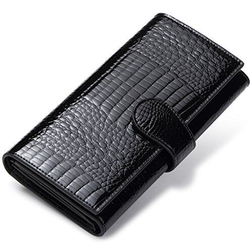 Women's RFID Blocking Trifold Wallet Ladies Long Leather Clu