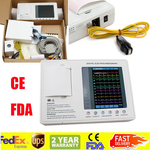 3-channel 12 Leads Cardiograph Electrocardiograph ECG/EKG Machine Thermal paper
