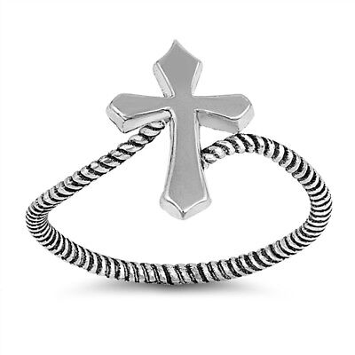 (.925 Sterling Silver Religious Cross Fashion Ring Size 4-10 NEW)