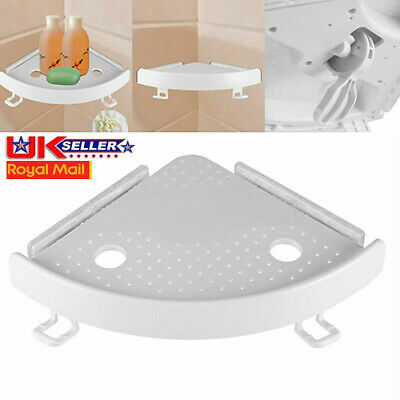 Bathroom Shelf Adhesive Storage Rack Corner Holder Shower Gel Shampoo Basket EE