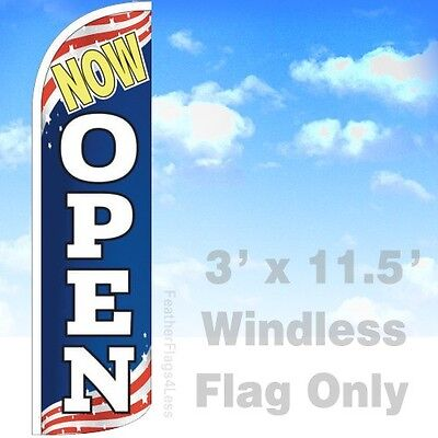 Now Open - Windless Swooper Feather Flag 3x11.5 Banner Sign - Patriotic Bq