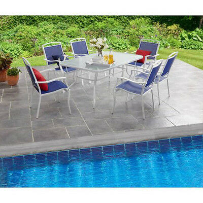 Patio Dining Set 7 Piece Swimming Pool Furniture Backyard Ideas Outdoor Garden