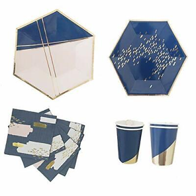 Polka Dot Sky Gold And Blue Foil Birthday Party Tableware Pack Paper Plates - Polka Dot Cups And Plates