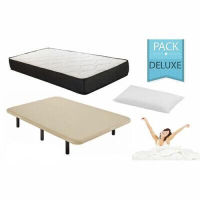 Pack Deluxe 135x190 cama completa: base tapizada, patas, colchón y almohada