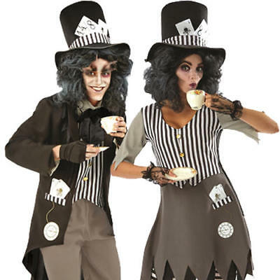 Dark Bad Mad Hatter Adults Fancy Dress Fairy Tale Mens Ladies Halloween Costume - Mens Fairy Costumes