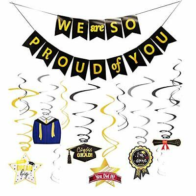 OuMuaMua Graduation Banner Swirls Decoration Kit We are So Proud of You Banne...